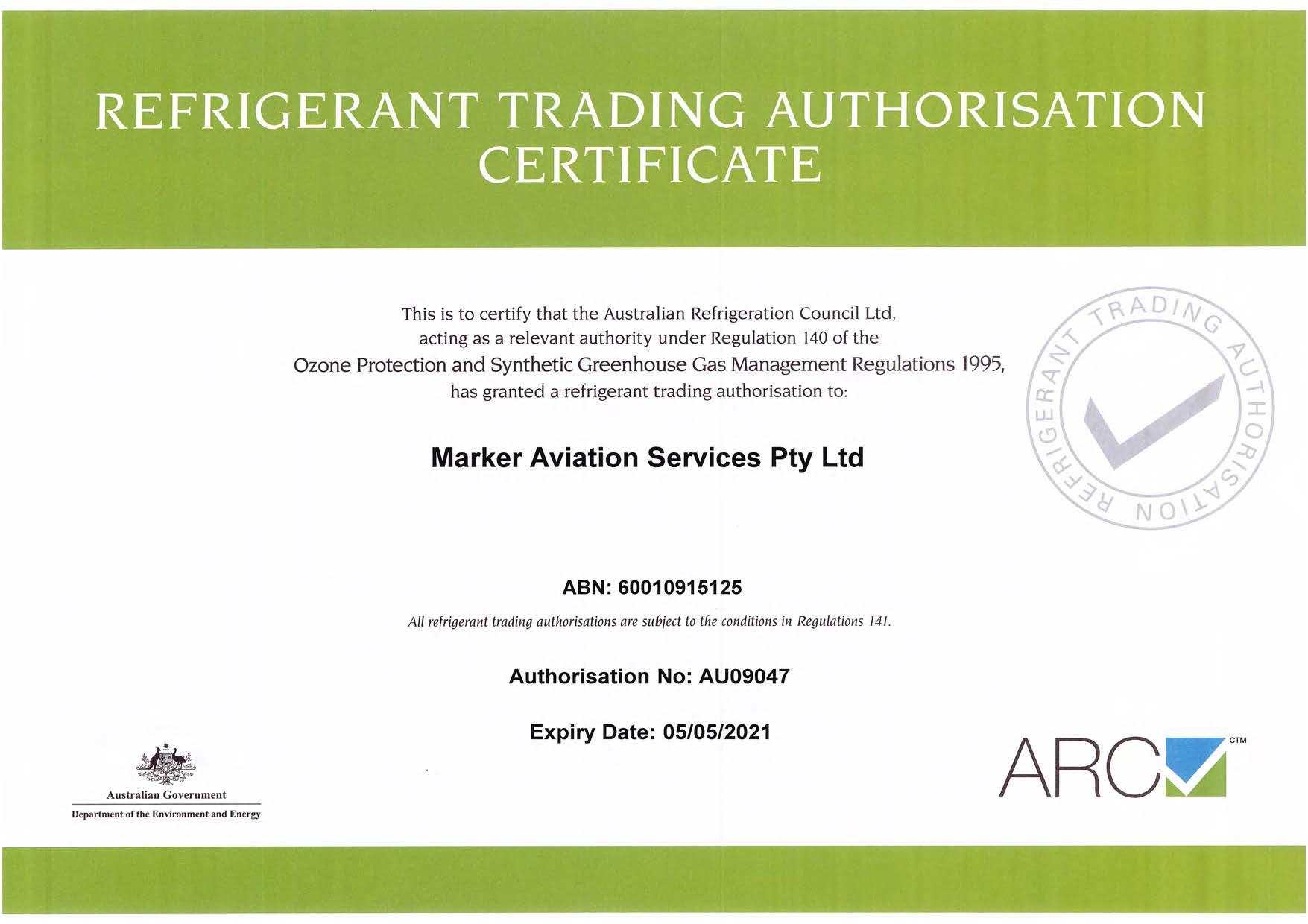 Refrigerant Trading Authorisation Certificate Expiry 05052021